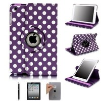 iPad Mini Case, E LV iPad Mini Case Cover - Rotating Stand Polka Dot PU Leather Full Body Protective Case Cover for Apple iPad Mini [Compatible with iPad Mini with Retina Display (7.9 inch Tablet) & iPad Mini (7.9 inch Tablet)] (Automatic Wake and Sleep fu