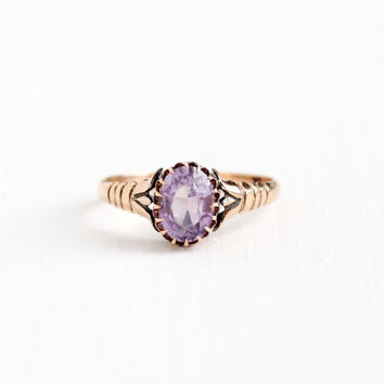 Antique Victorian 10k Rose Gold Rose de France Amethyst Ring - Late 1800s Vintage Size 8 Light Purple Oval 1+ Carat Gemstone Fine Jewelry