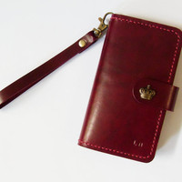 Samsung Galaxy S5 Wallet - Leather Samsung Galaxy S3 or S4 or S5 Case with Crown Button Snap in Burgundy - Handmade - Free Monogram