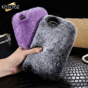 KISSCASE For iPhone 7 6 6s Plus Case Genuine Rabbit Fluffy Fur Cover For Samsung Galaxy S5 S6 S7 Edge Note 4 5 A7 5 J7 3 2 2016