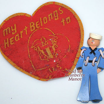 WWII Navy Sailor Buddy Brooch, Military Sweetheart Pin, Officer Uniform Original Paper Patch, Blue Jewellery Vintage Fashion Costume Jewelry