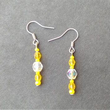 Citrus Lemon Drop Earrings, made with Czech glass beads on silver tone ear wires, Spring and Summer fashion jewelry for women, Ready to Ship