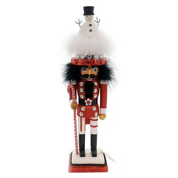 Christmas HOLLYWOOD SNOWMAN HAT NUTCRACKER Wood Whimsical Ha0265 Red