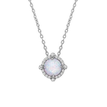 Lafonn Classic Sterling Silver Platinum Plated Lassire 0.30 CTTW Simulated Diamonds and 6.5mm Opal Necklace