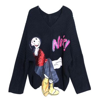 2016 Autumn and Winter Fun Cartoon Sequins Embroidery Sweater New Women's Long Sleeve Sweater
