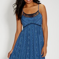 ethnic embroidered dress with crocheted neckline | maurices