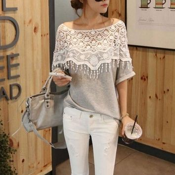 PEAPIX3 2014 sweet lace cutout shirt women handmade crochet cape collar batwing sleeve blouse medium-long t shirt female = 1946027652