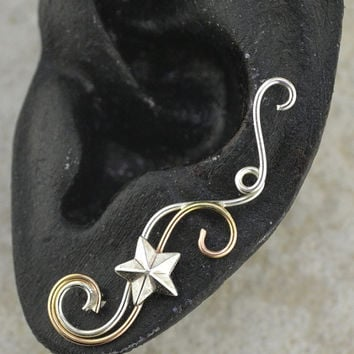 Swirling Victorian Ear Pin with Star -SINGLE SIDE - 14k Gold Filled , Sterling Silver, or Mixed Metals