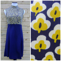 60s yellow MOD FLORAL dress vintage navy knee length shift dresses hippie boho size S/M small medium 1960s sleevless mini short collar hippy