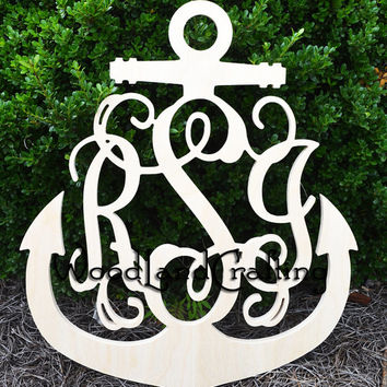 22 inch Anchor Wooden Monogram, Nautical Wooden Monogram, Wooden Initials, Wall Hanging, Ready to Paint, Unpainted