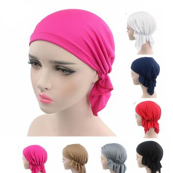 NEW Breathable Bandana Scarf Pre Tied Cotton Chemo Hat Beanie Turban Headwear for Cancer Patients