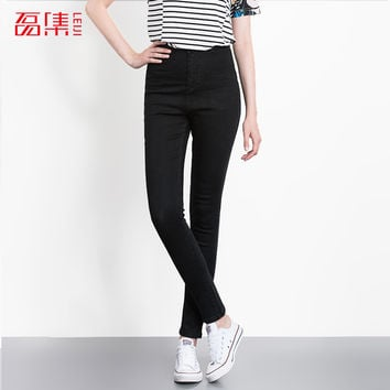 Leiji Fashion Jeans S 6XL Summer Autumn Elastic Plus Size Women Denim light Washed High Waist Jeans skinny Pencil Pants Femme