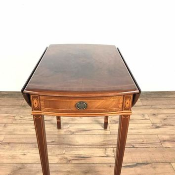 Antique English Style Inlaid Mahogany Drop Leaf 'Pembroke' Side Table