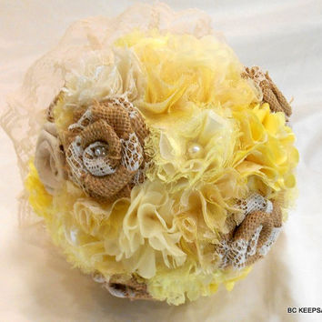 Shabby Chic Burlap Rustic Yellow Wedding Bouquet