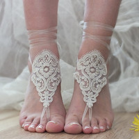FREE SHIP Tan Barefoot Sandals, Nude shoes, Foot jewelry,Wedding, Victorian Lace, Sexy, Yoga, Anklet , Bellydance, Steampunk, Beach Pool