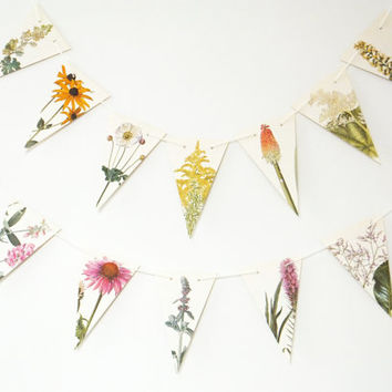Flower Bunting, Flower Garland, Recycled Paper Garland, eco-friendly banner, dorm decor, pennants