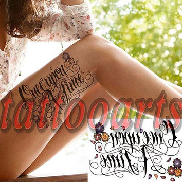 Once upon a time flower temporary tattoo body art arm leg thigh woman makeup water transfer sticker #10415