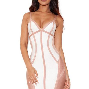 Chicloth White and Nude Strappy Illusion Cut Bandage Dress