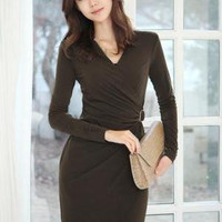 Charming V Neck Long Sleeve Peplum Dress - Coffee
