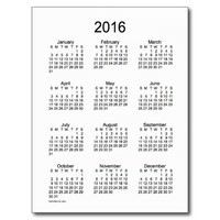 Black and White 2016 Mini Calendar by Janz Postcard