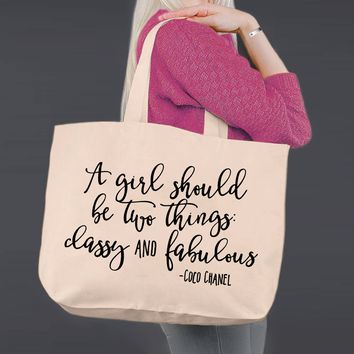 Classy and Fabulous | Coco Channel | Canvas Tote Bag