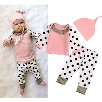 Pink Newborn Infant Baby Girl Tops T-shirt Dot Pants Hat 3pcs Outfits Toddler Kids Clothing Clothes 0-24M