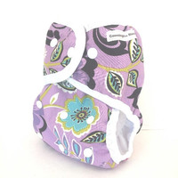 One Size Cloth Diaper Cover with leg gussets, waterproof,  one size, cloth  diaper cover for baby in purple