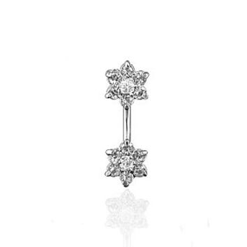 Jeweled Twin Daisy Flowers Spinal Barbell Christina Vertical Hood VCH Jewelry Genital Piercing 1/2