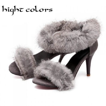 New Sexy Rabbit Fur Open Toe Stiletto High-Heeled Sandals Summer Women Shoes Gladiator Ankle Strappy Beautiful Sandals US10.5