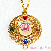 Sailor Moon Necklace - Sailor Moon Transformation Brooch Inspired - Crystal Gold Sailor Moon Necklace Jewelry Christmas Gift for Her