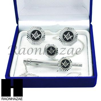 MENS 14K WHITE GOLD FREEMASON MASONIC SIGN G CUFFLINKS TIE PIN TIE CLIP GIFT BOX