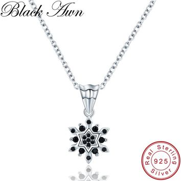 [BLACK AWN] Trendy 2.9g 925 Sterling Silver Fine Jewelry Black Spinel Flower Slide Pendants Necklaces for Women P191