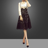 """Valentino"" Women Temperament Fashion  Solid Color Long Sleeve Shirt Stitching Lace Back Strap High Waist Dress"