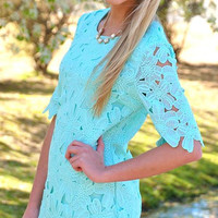 Laced with Love Floral Dress- Mint