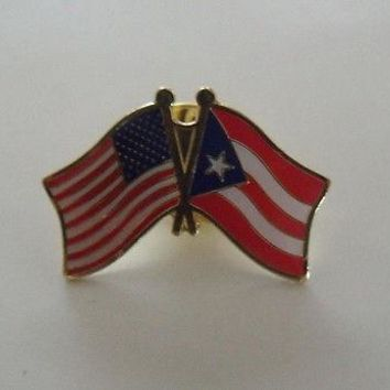 Puerto Rico Flag And USA Lapel Pin Crossed Friendship Pin Bandera Puerto Rico