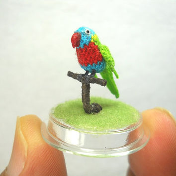 Mini Parrot in Dome - Red Green Blue - Micro Amigurumi Miniature Crochet Bird Stuffed Animal - Made To Order