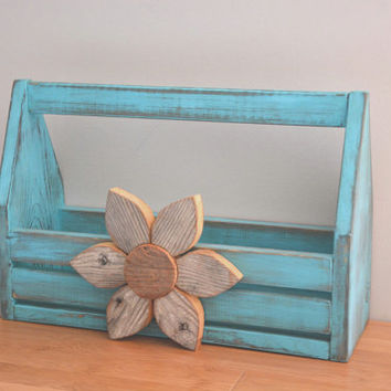 Turquoise Shabby Chic wood crate caddy, tool caddy, Rustic wood toolbox, Reclaimed wood carrier, Reclaimed wood box, Storage & Organization