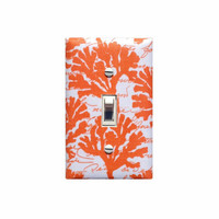 Coral Light Switch Plate Cover / Nautical Sea Bathroom Decor / Orange and White / Michael Miller By the Sea