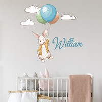 Rabbit Full Color Wall Decal Personalized Name Vinyl Sticker Mural for Nursery Baby Custom Name Decor Colorful Wall Art SD61