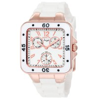 Invicta 1304 Women's Angel Jellyfish Silver Dial Rose Gold Steel White Rubber Strap Watch