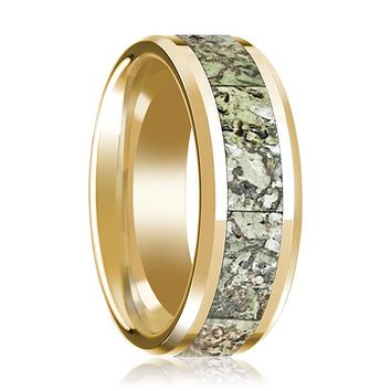 DELTA Polished 14k Yellow Gold Green Dino Bone Inlay Wedding Ring for Men with Bevels - 8MM