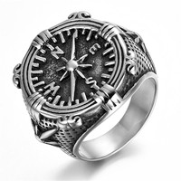 Stainless Steel Compass Mens Ring KR0671