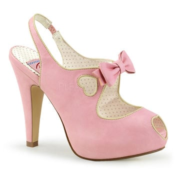 Pin Up Couture Baby Pink Bettie Slingback Heart Platform