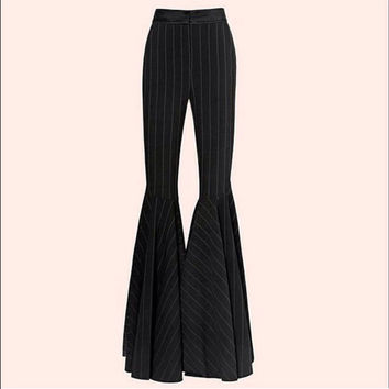 Women's blended wool fabric black stripes down high waisted super flared bell bottoms pant - Vintage 70s fashion