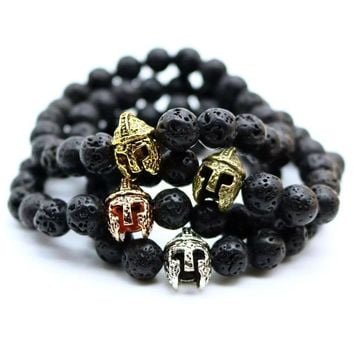 Gladiator Charm Helmet Black Lava Rock, Amazonite Stone Bead Bracelets For Men