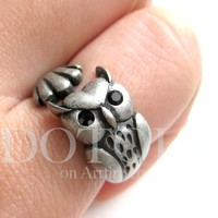 Owl Bird Animal Wrap Around Ring in Silver - Sizes 4 to 8.5 Available