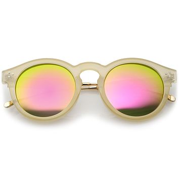 Retro P3 Round Horned Rim Mirrored Lens Sunglasses A772