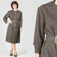 50s Tweed Belted Bombshell Dress / Wool Tailored Button Up Winter Dress / Mad Men Mid Century Large L Dress