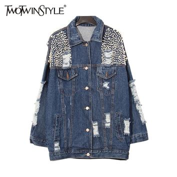 Trendy [TWOTWINSTYLE] 2017 Autumn Heavy Beading Pearls Ripped Holes Washed Denim Outerwear Jacket Women Basic Coat New Fashion AT_94_13