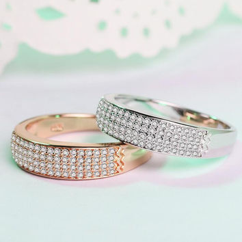Womens CZ  Ring +Gift Box